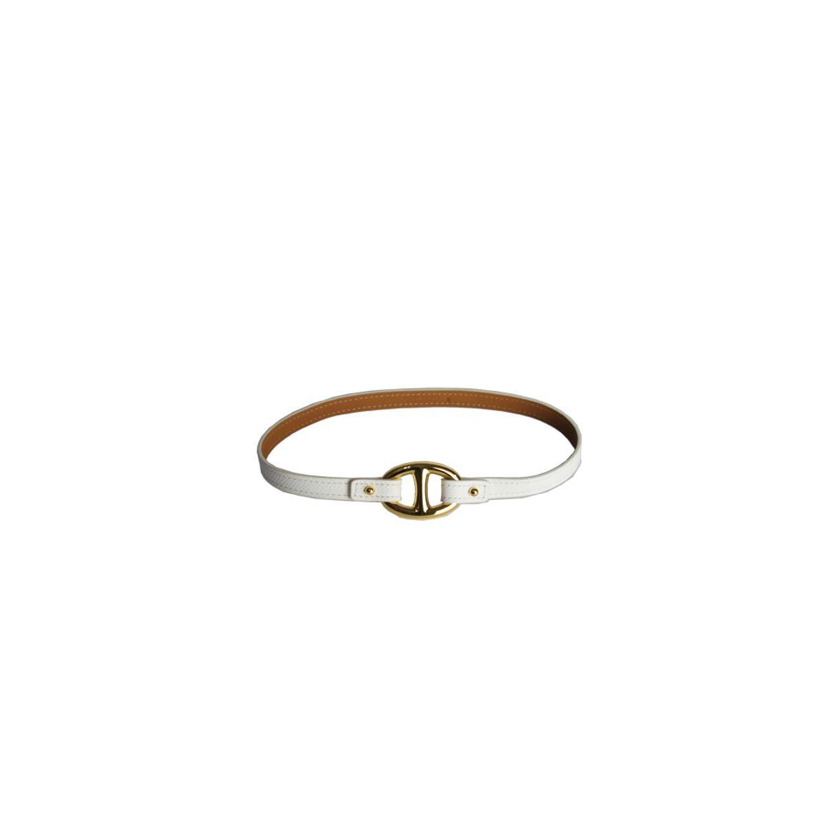 abfc38fa7a1d4 Pulseira Hermes Granville Leather Bracelet Branca