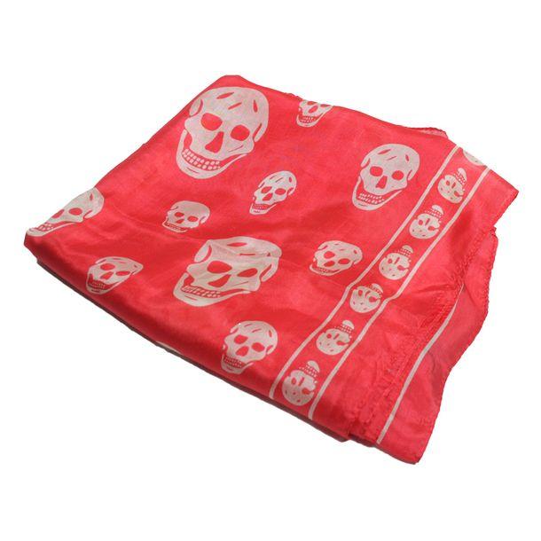 Lenco-Alexander-McQueen-Classic-Silk-Skull-Vermelho