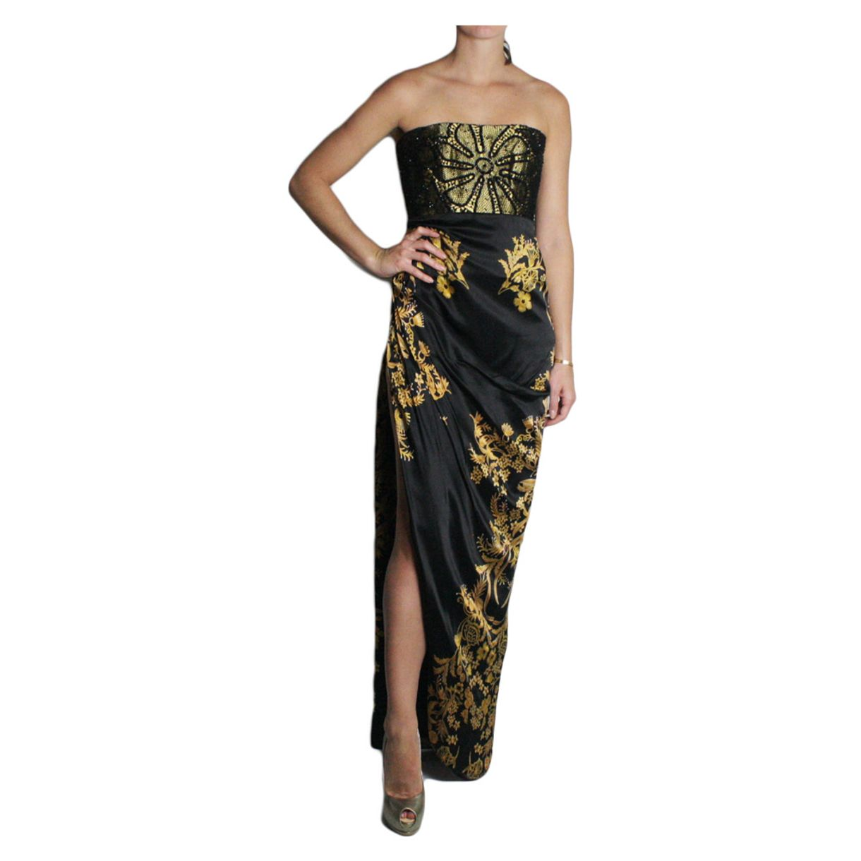 Vestido-Martha-Medeiros-Estampado-Preto-e-Dourado