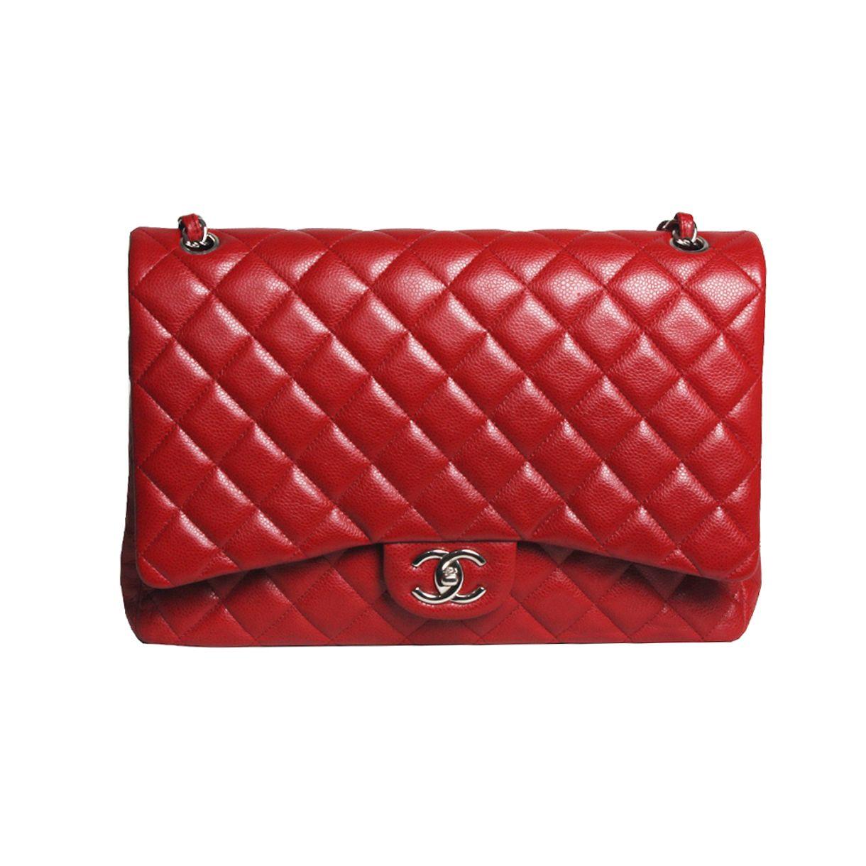 Bolsa-Chanel-Double-Flap-Maxi-Caviar-Red