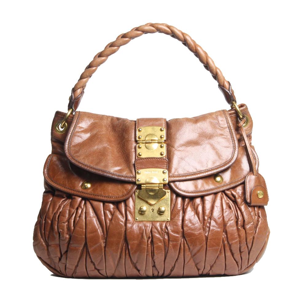 e2e670652 Bolsa Miu Miu Coffer Leather Caramelo   Brechó de luxo - prettynew