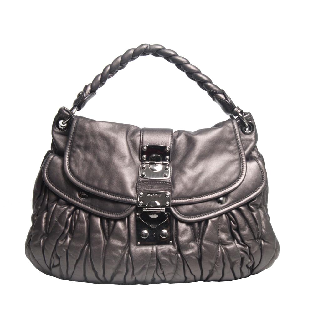 12fcded86c1 Bolsa Miu Miu Coffer Leather Chumbo