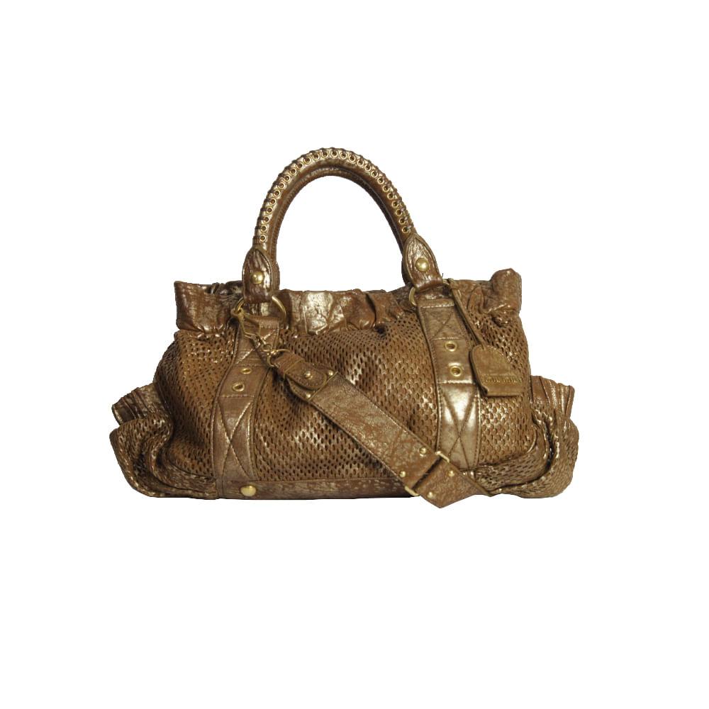 7763c1cd0 Bolsa Miu Miu Couro Marrom e Dourado| Brechó de luxo | Pretty New ...