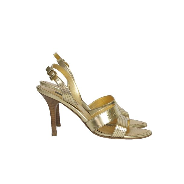 Sandalia-de-Salto-Louis-Vuitton-Dourada