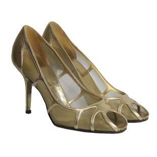 Sapato-de-Salto-Dolce-Gabbana-Tela-Dourado