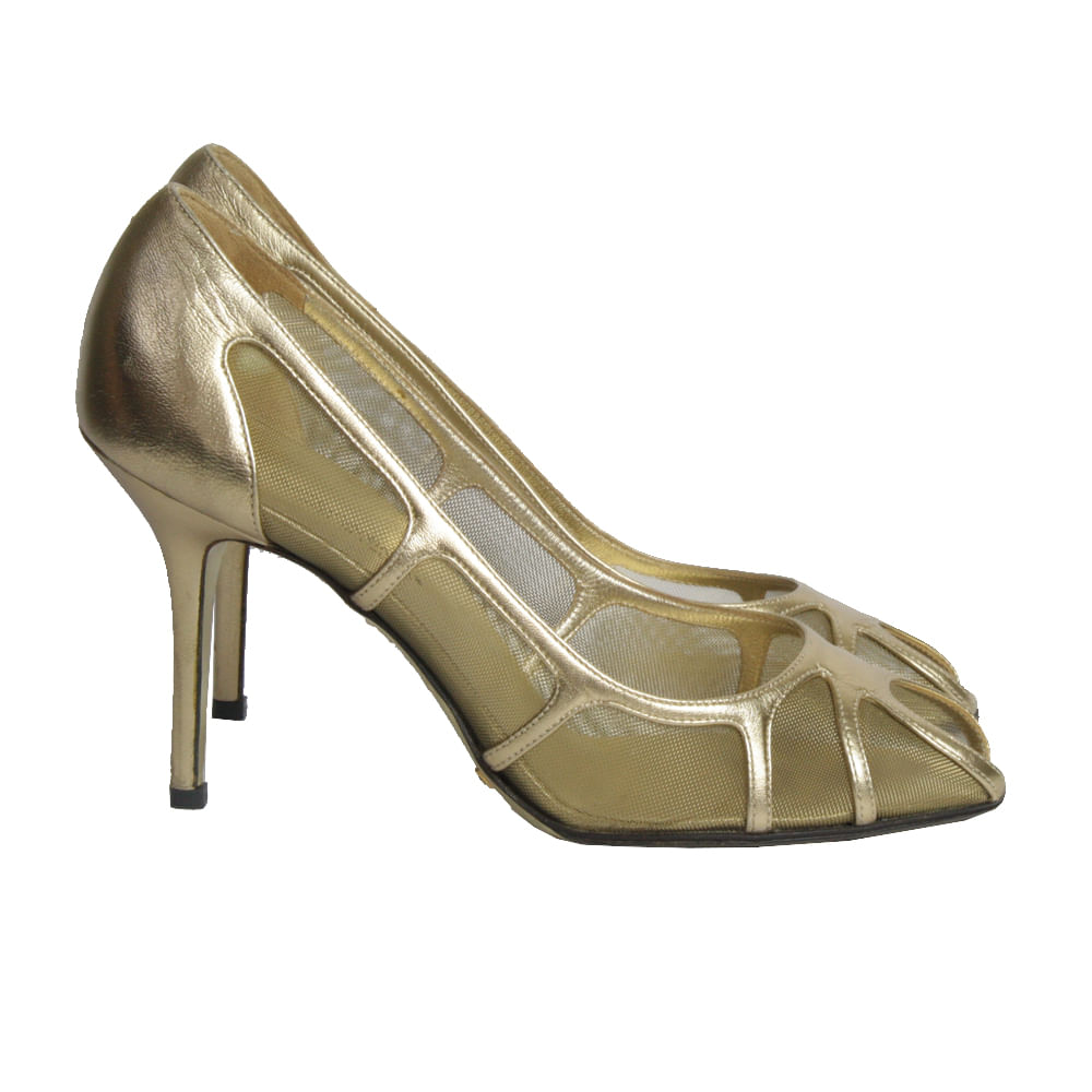 6593ea646a36f Sapato de Salto Dolce Gabbana Tela Dourado   Brechó de luxo - prettynew