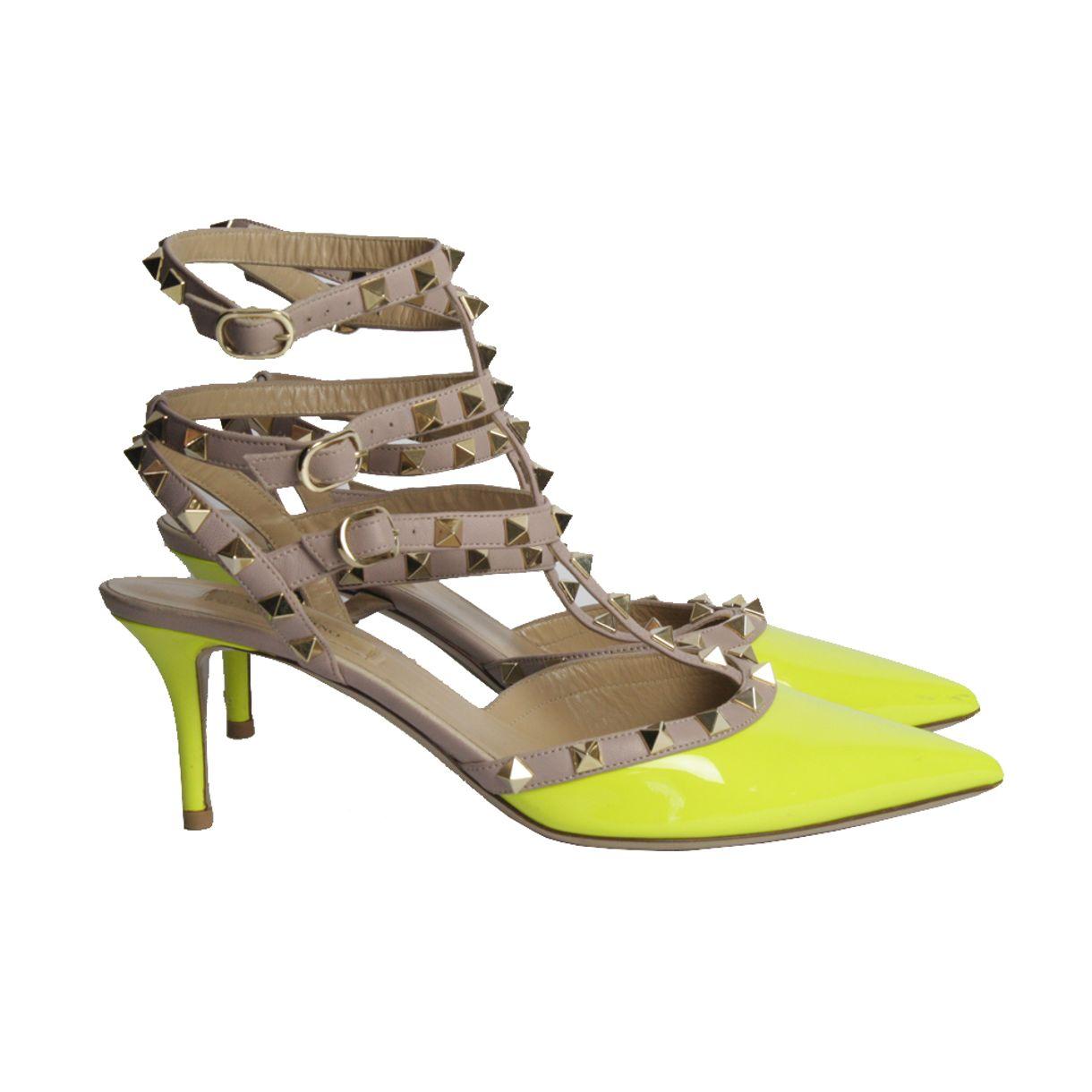 Salto-Valentino-Rockstud-Bicolor-Verde-Neon