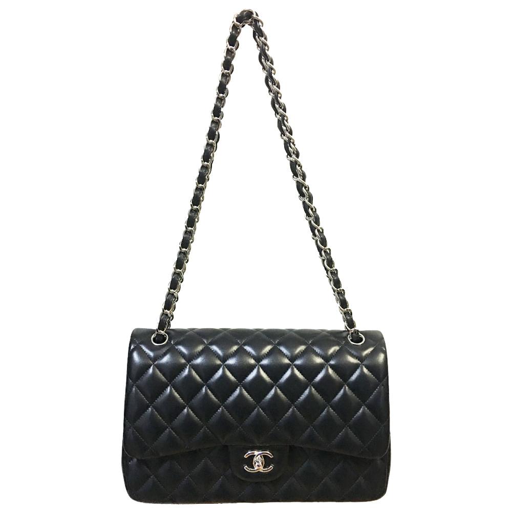 649ed9730ba5a Bolsa Chanel Double Flap Jumbo lambskin   Brechó de luxo - prettynew