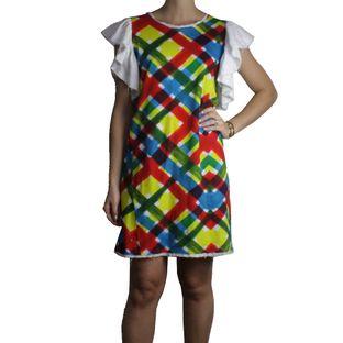 Vestido-Isolda-Curto-Xadrez-Colorido-com-Babado-Branco