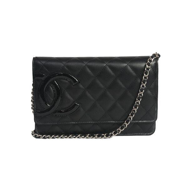 Bolsa-Chanel-Pequena-Couro-Preto-Monograma-em-Verniz
