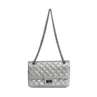 Bolsa-Chanel-Reissue-Couro-Prata-Corrente