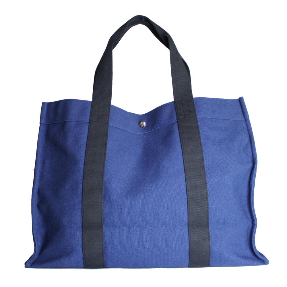 Bolsa de Praia Hermes Azul Marinho   Brechó de luxo - prettynew 492b066f99