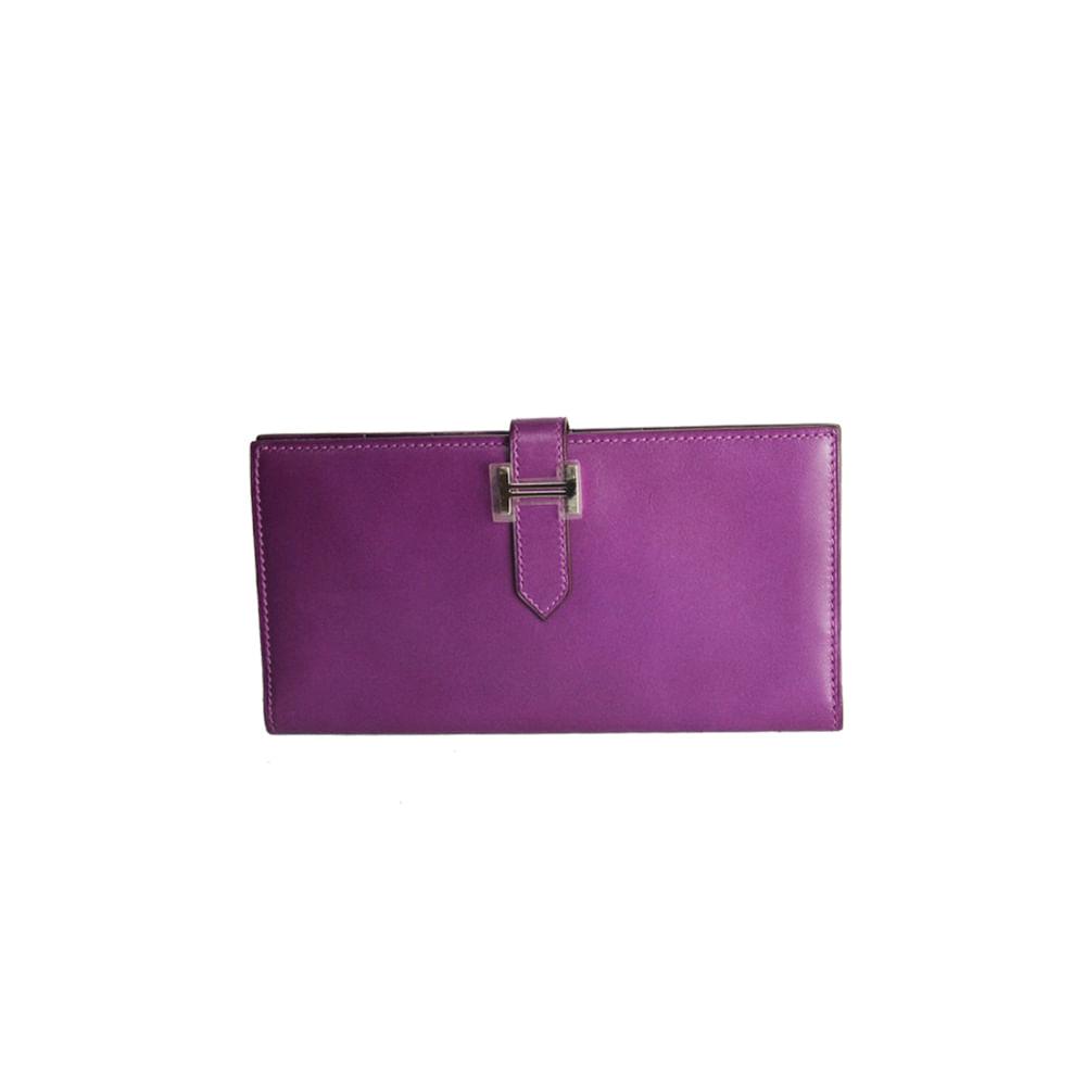 ea21c0349e3 Carteira Hermes Bearn Wallet Roxa