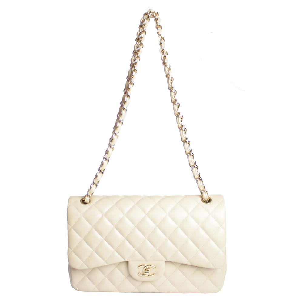 86c3a02db07e Bolsa Chanel Double Flap Jumbo Lambskin | Brechó luxo - prettynew
