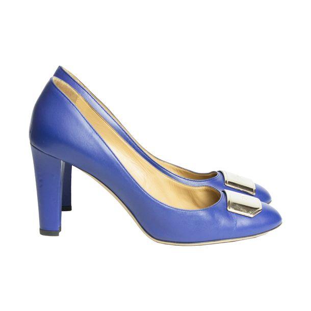 Pump-Bally-Couro-Azul