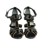 Sandalia-Gucci-Veludo-Preto-com-Dourado