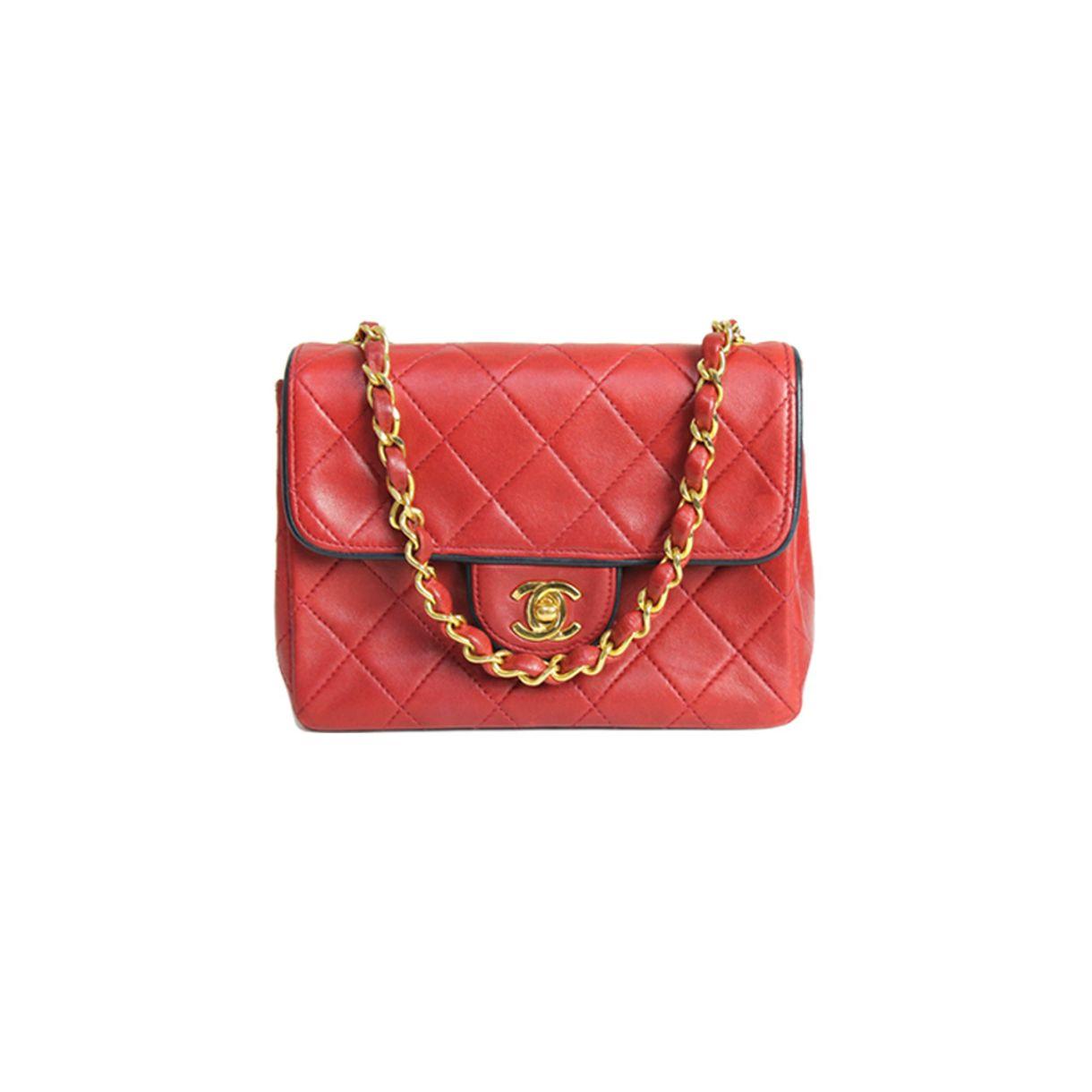 Bolsa-Chanel-Classic-Mini-Square-Vermelha-Lambskin