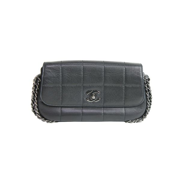Bolsa-Chanel-Couro-Lambskin-Preta-Alca-Correntes-Chumbo