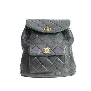 Mochila-Chanel-Vintage-Quilted-Couro-Preto-Alca-Corrente