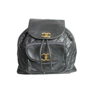 Mochila-Chanel-Vintage-Quilted-Couro-Preto-M
