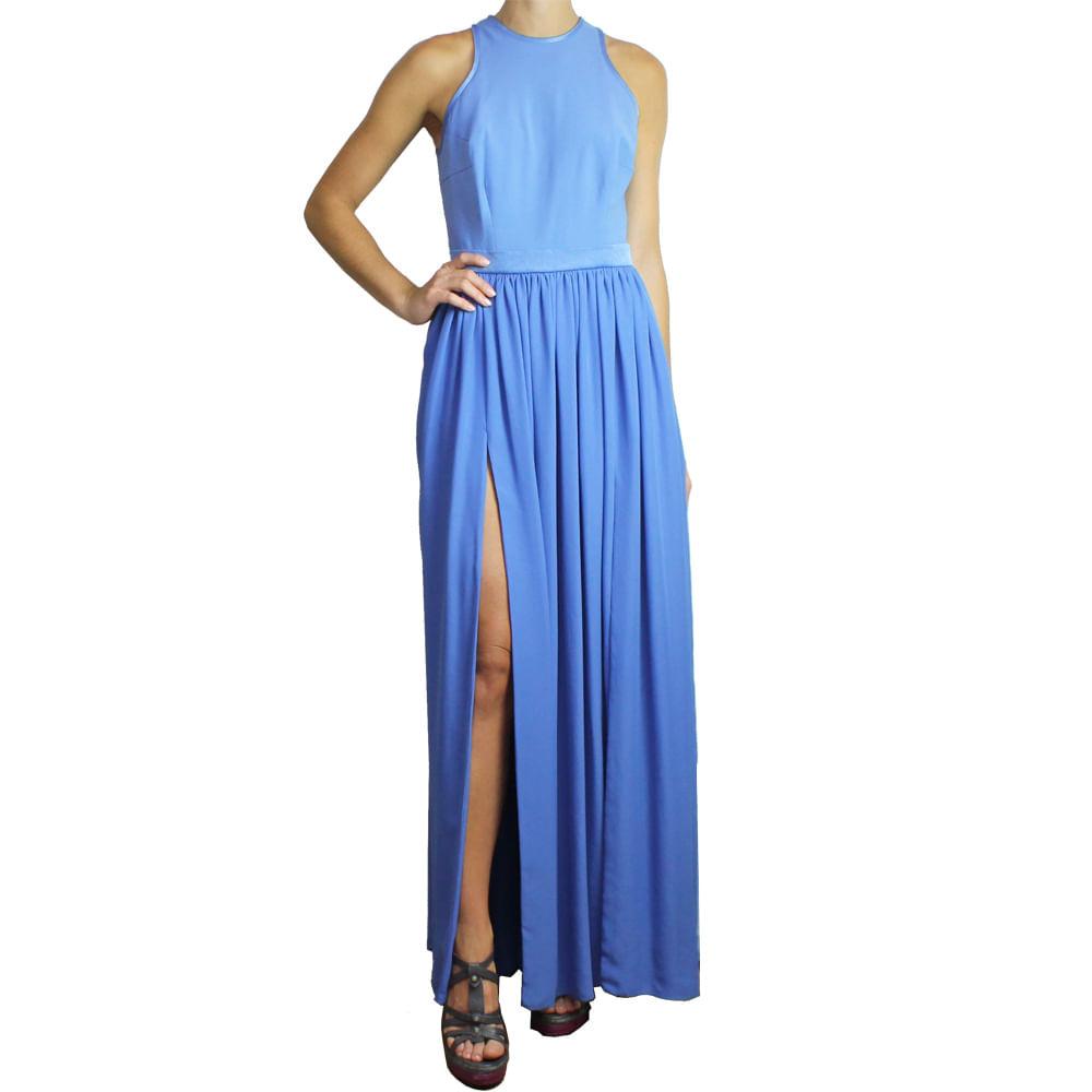 30a980c08 Vestido Debora Mangabeira Longo Azul | Brechó de luxo - prettynew