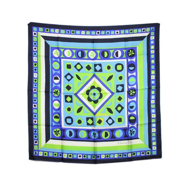 Lenco-De-Seda-Christian-Dior-Verde-E-Azul-80-x-80