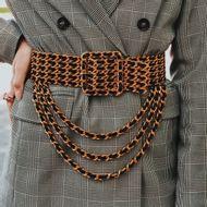 Cinto-Chanel-Vintage-Maxi-Dourado-com-Couro-Lambskin-Preto