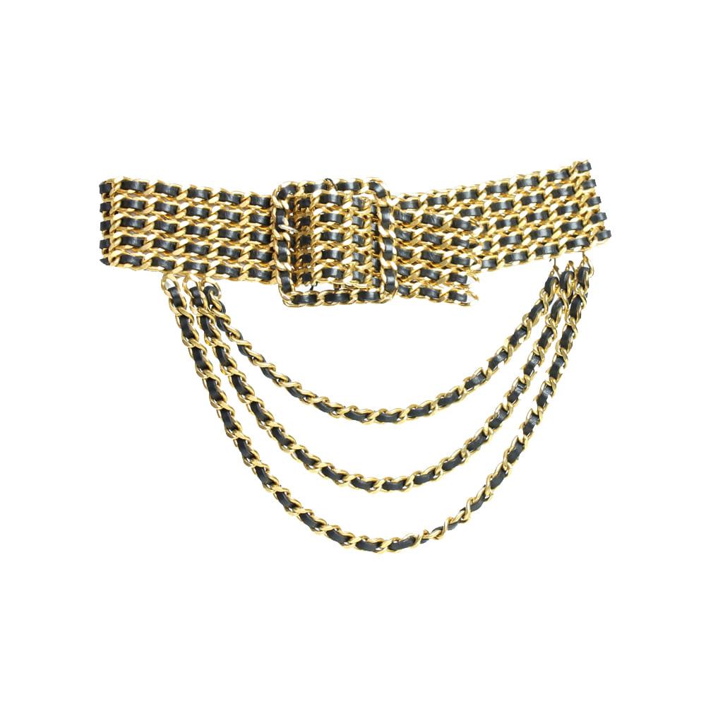 2d726bea2f121 Cinto Chanel Vintage Maxi Dourado   Brechó de luxo - prettynew