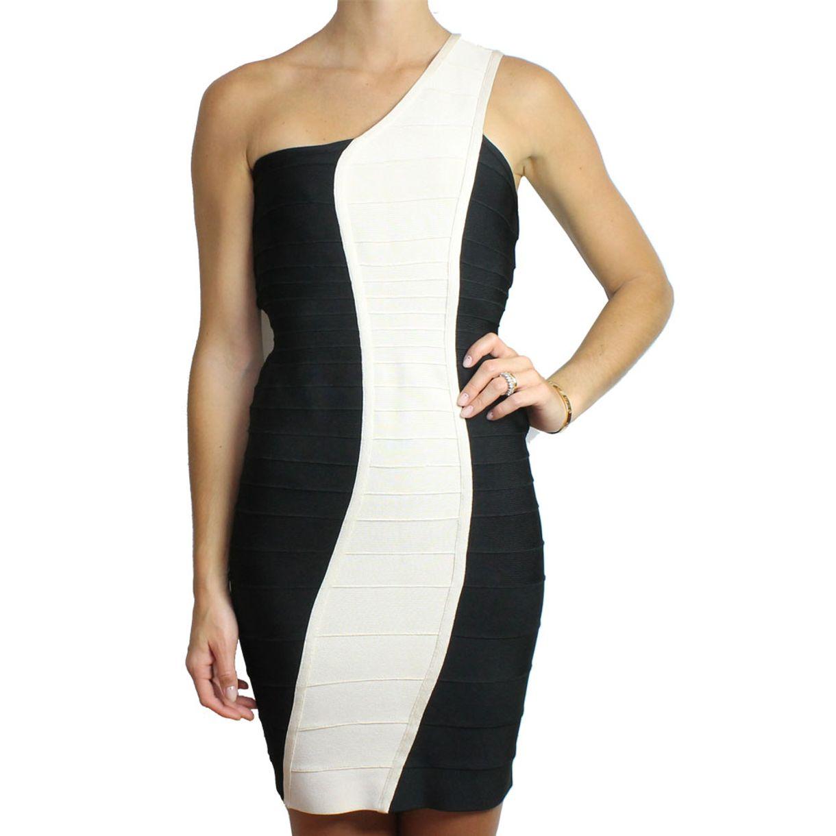 Vestido-Herve-Leger-Preto-e-Branco-Curto