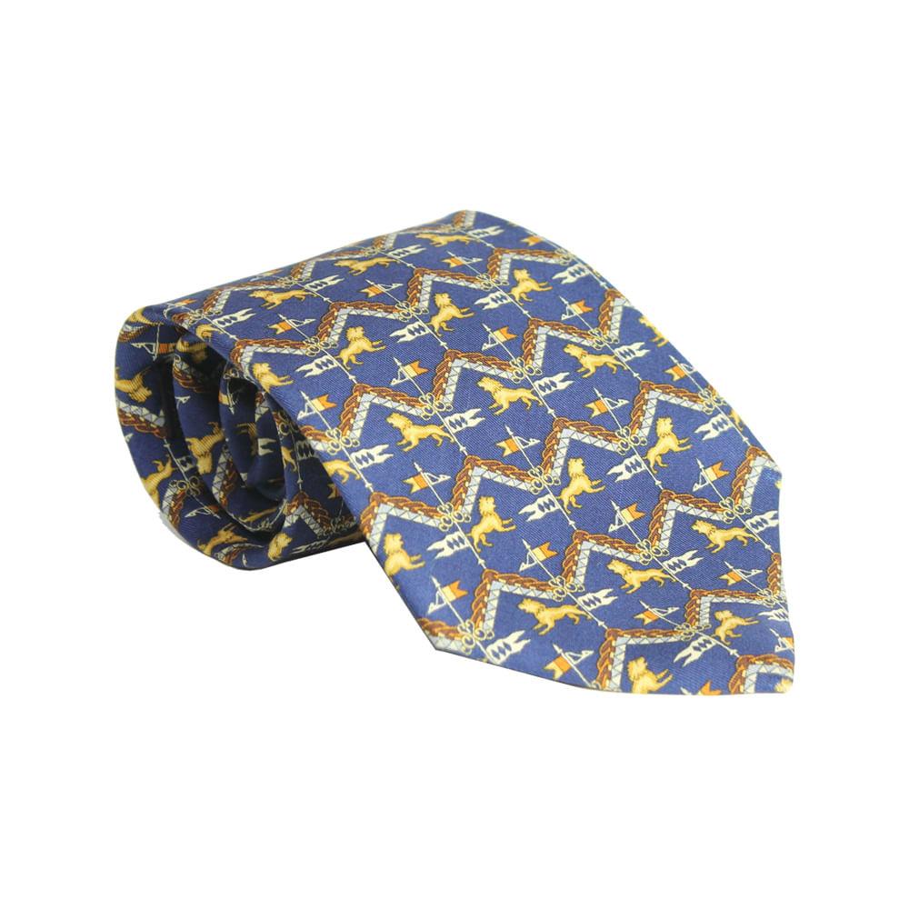 42e715e594f70 Gravata Salvatore Ferragamo Leão Azul Royal