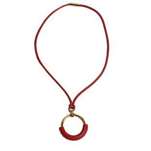 Colar-Hermes-Pendente-Couro-Vermelho
