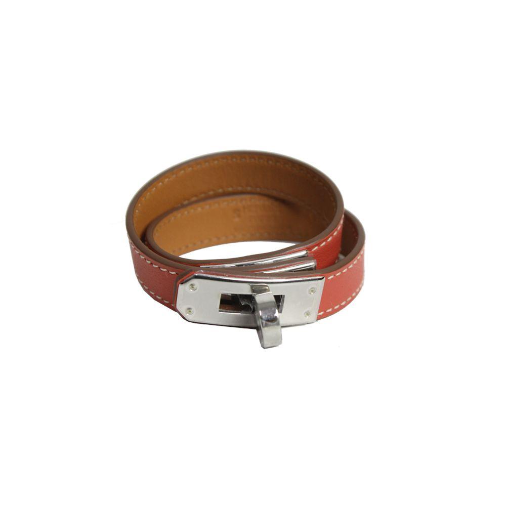 d651859c4c8 Bracelete Hermes Kelly Double Tour em Couro Swift Coral