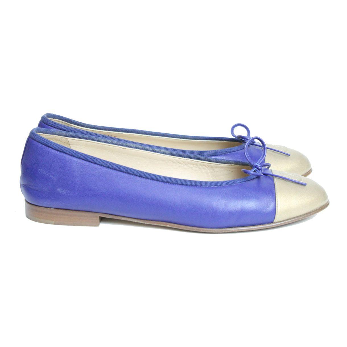 Sapatilha-Chanel-Couro-Azul-e-Dourado