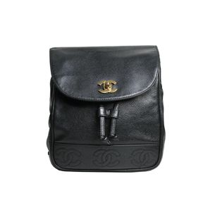 Mochila-Chanel-Vintage-Couro-Preto