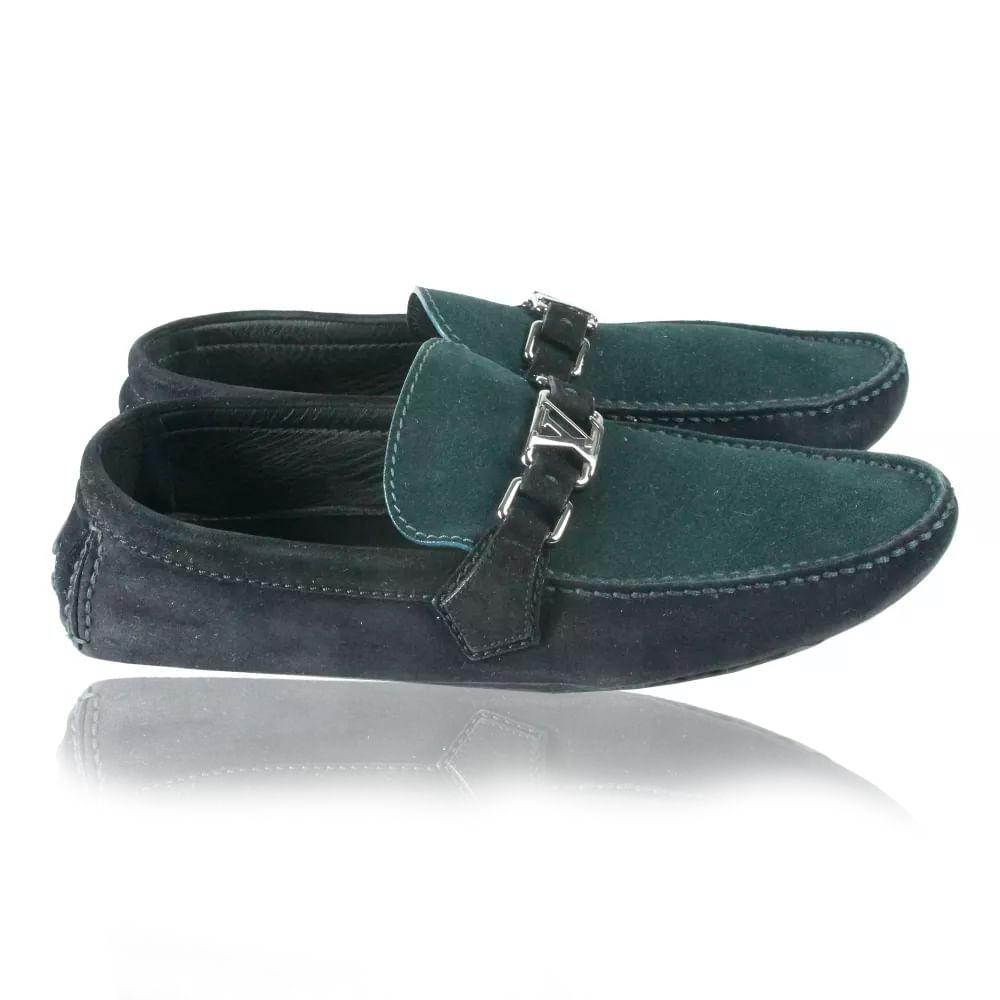 78e108332f0 Mocassim Louis Vuitton Camurça Preto e Verde