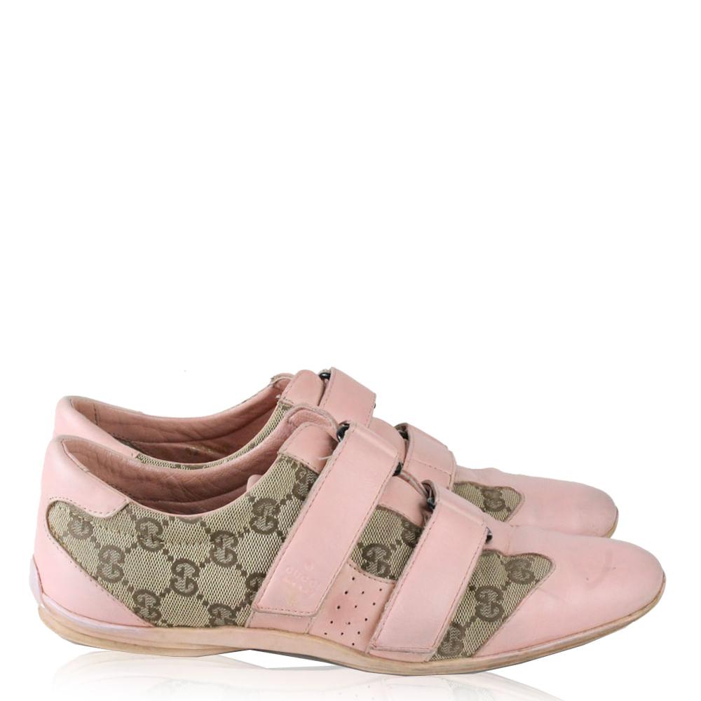 8aaa3c750c8a8 Tenis Gucci Velcro Rosa  Brechó de luxo   Pretty New - prettynew