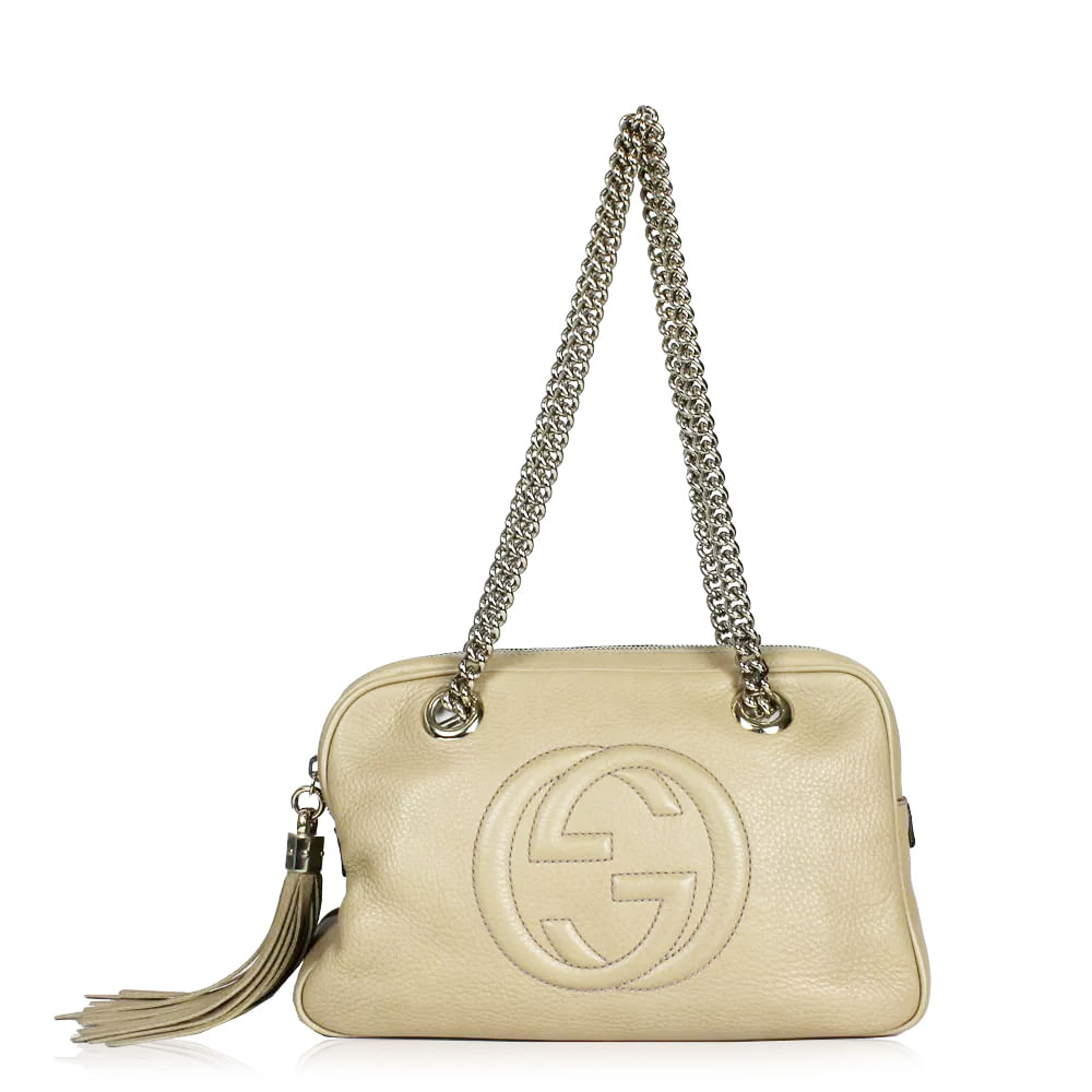 e99dec33141 Bolsa Gucci Soho Chain Nude. Previous