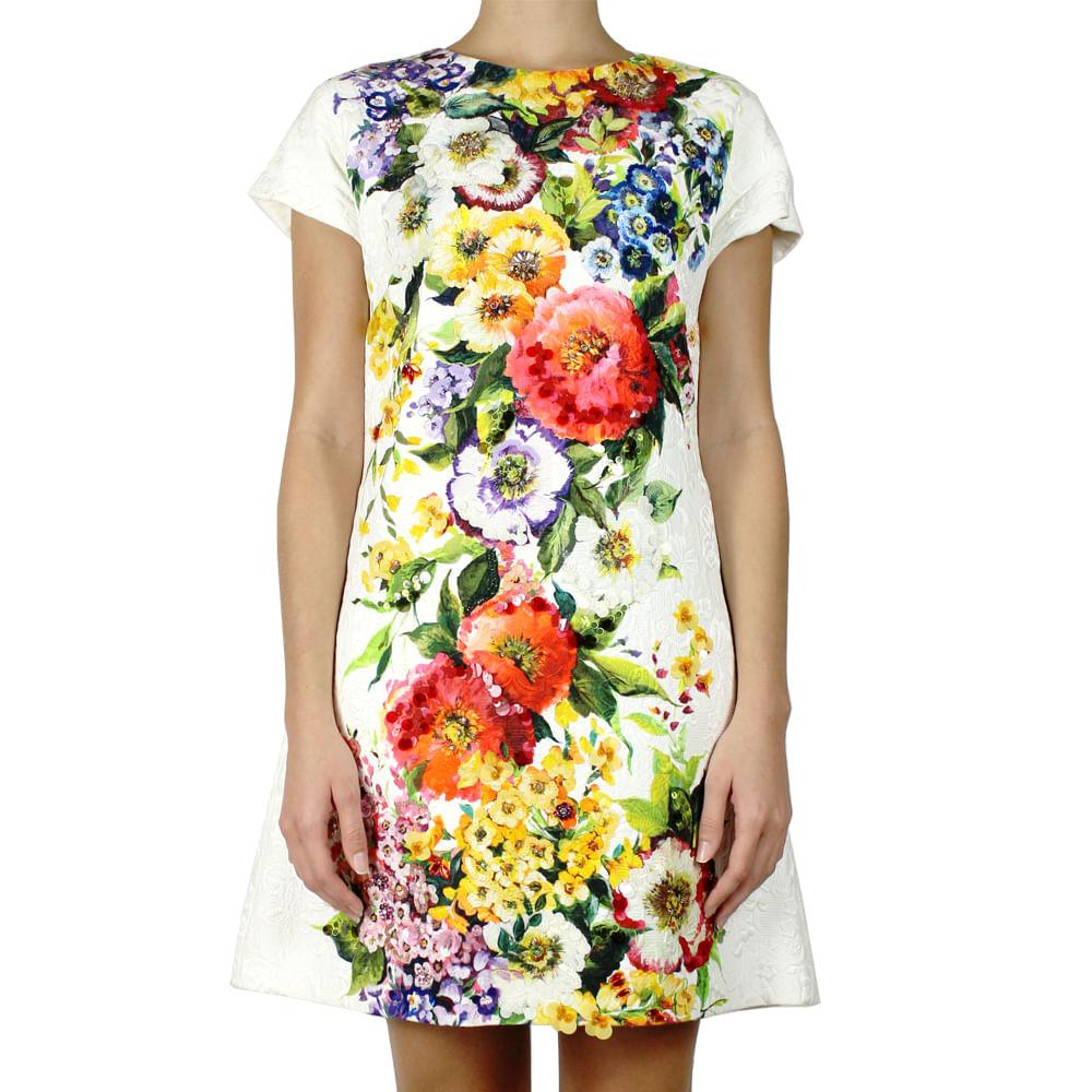 48a19da0b3291 Vestido Dolce   Gabbana Brocado Branco Floral com Bordado