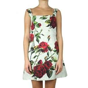 Vestido-Dolce-_-Gabbana-Brocado-Verde-com-Rosas