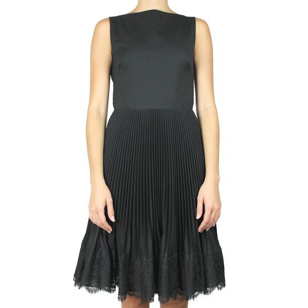 Vestido-Valentino-Plissado-e-Renda-Preto