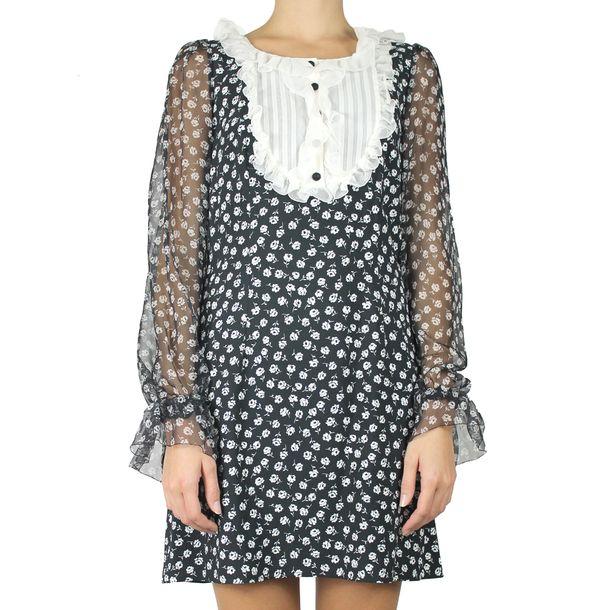 Vestido-Dolce-_-Gabbana-Estampado-Preto-e-Branco-Florido