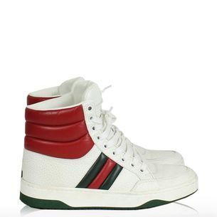 8b29303d2 Tenis-Gucci-Couro-Branco-Cano-Medio ...