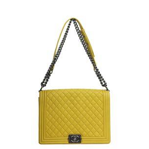 Bolsa-Chanel-Boy-Couro-Amarelo