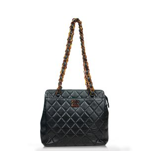Bolsa-Chanel-Quilted-Vintage-Preta-com-Tartaruga