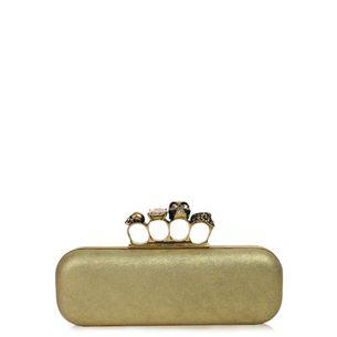 Clutch-Alexander-McQueen-Skull-Dourada