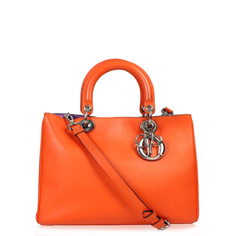 30631a985e2 Bolsa Christian Dior Diorissimo Couro Laranja