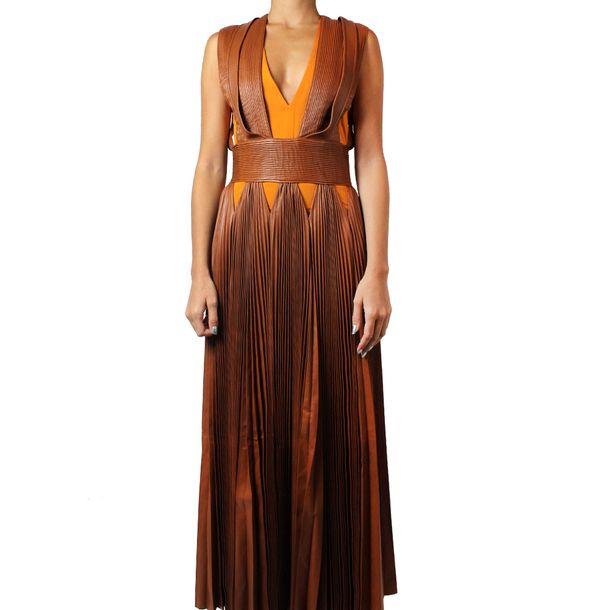 Vestido-Givenchy-Plissado-Couro-Marrom
