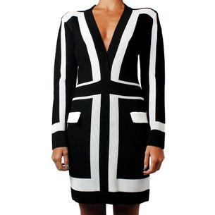 Vestido-Balmain-Preto-e-Branco