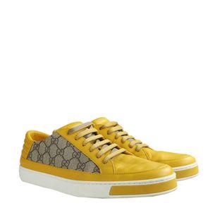 Tenis-Gucci-Canvas-Couro-Amarelo