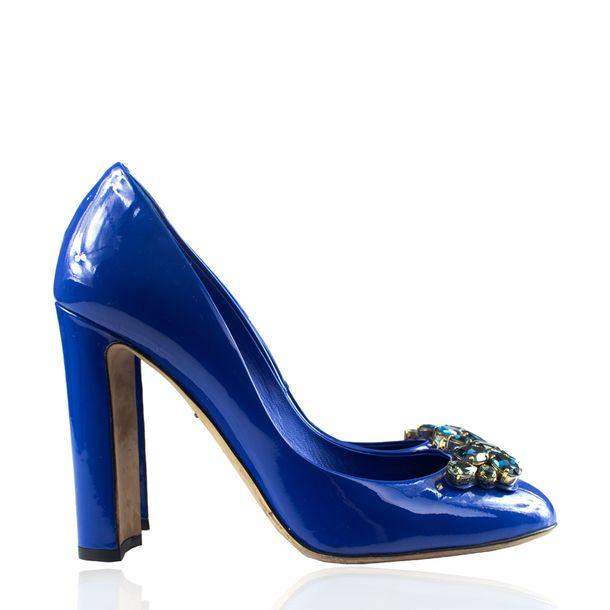 Scarpin-Dolce-Gabbana-Verniz-Azul-Bic-Pedrarias